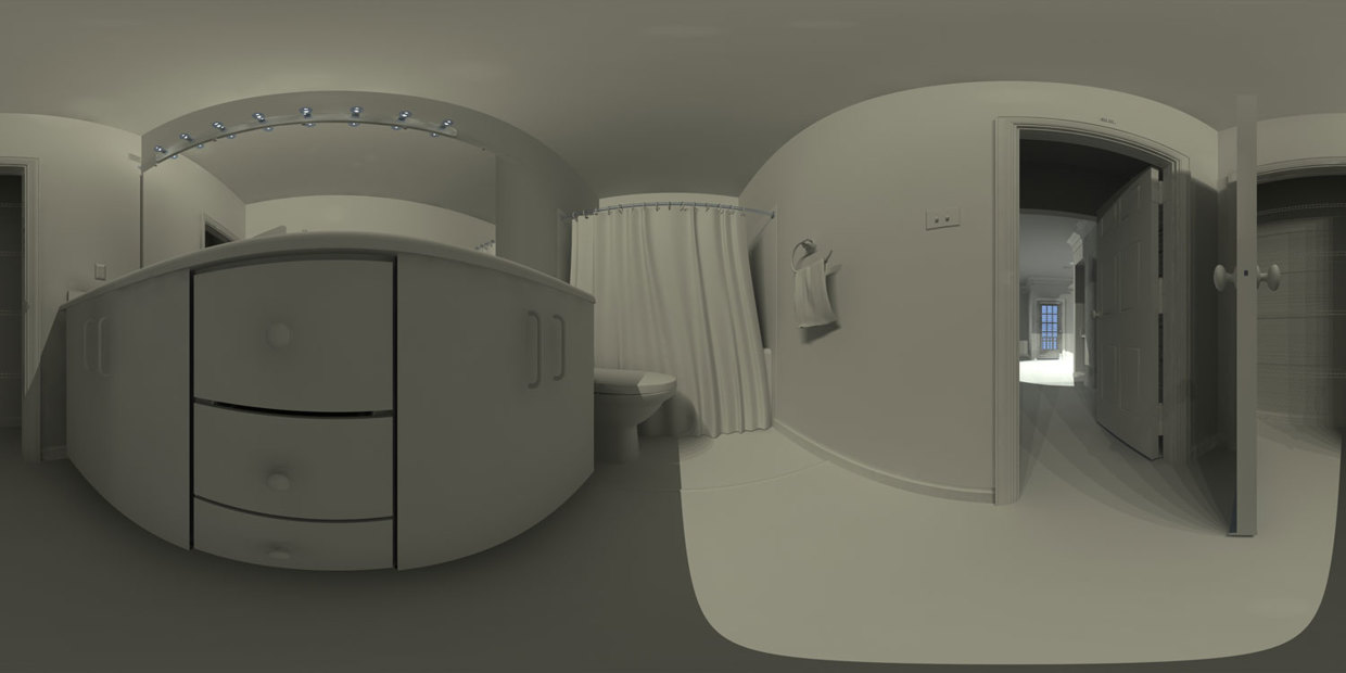 Bathroom Panorama - un-textured solid shading