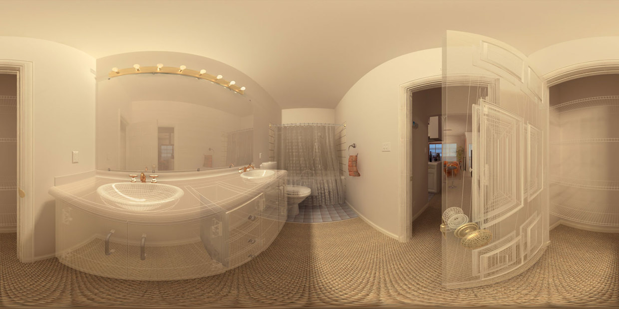 Bathroom Panorama - wireframe / solid shading