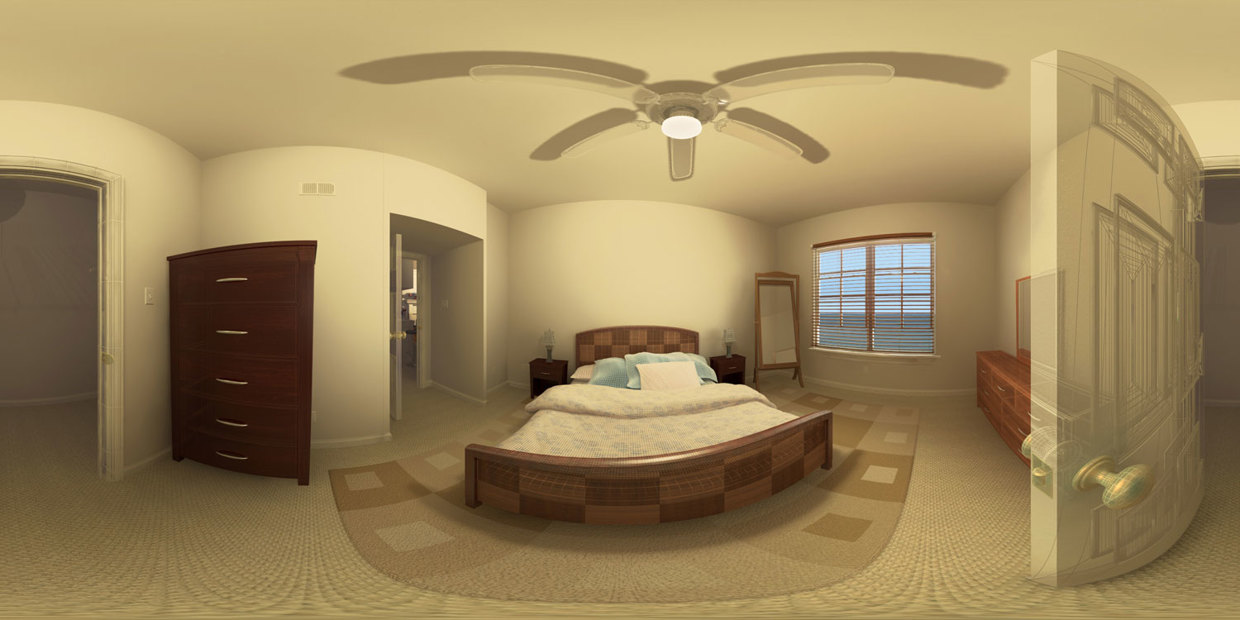 Bedroom Panorama - wireframe / solid shading