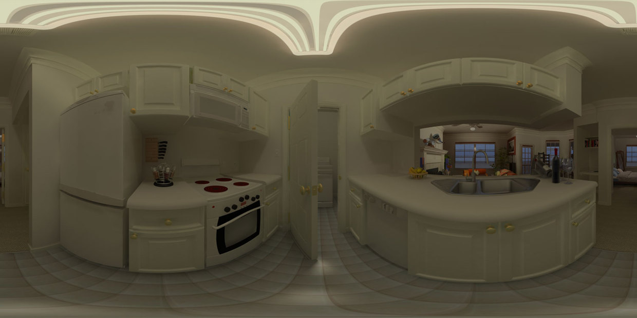 Kitchen Panorama - wireframe / solid shading